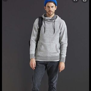 Commerce Rupert Navy Color Block Hooded Sweater.